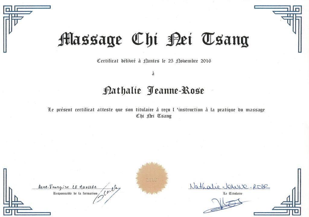 Certificat Massage Chi Nei Tsang - Nathalie JEANNE-ROSE