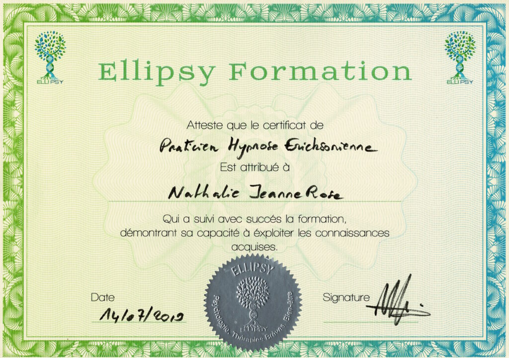 Certificat Praticien Hypnose Nathalie JEANNE-ROSE