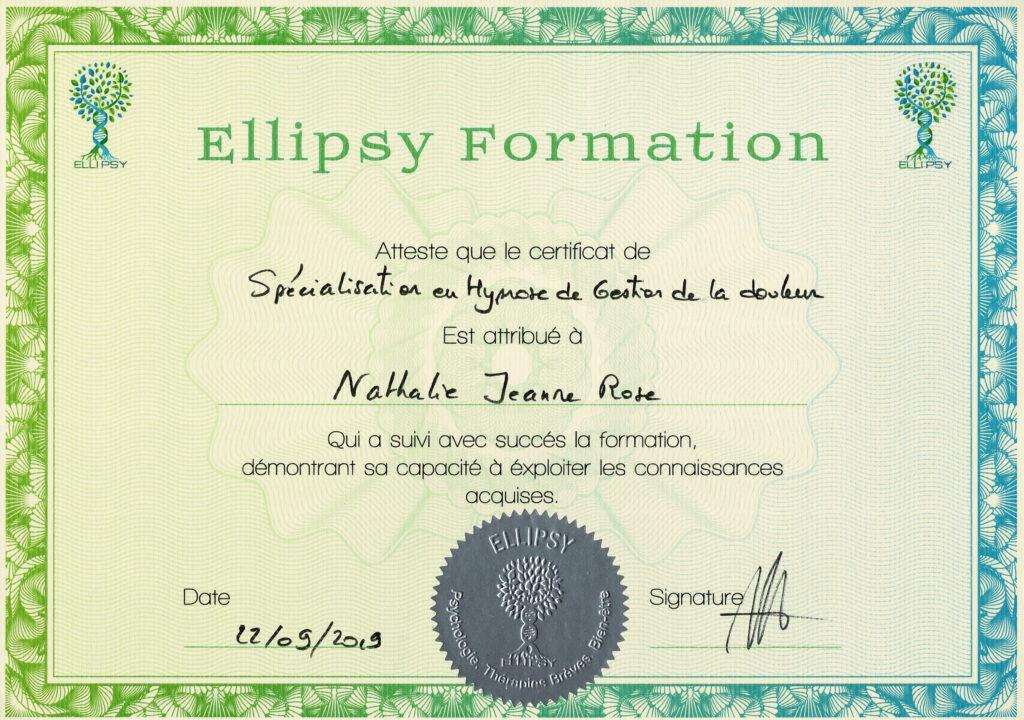 Certificat Spécialisation Hypnose Gestion de la Douleur - Nathalie JEANNE-ROSE